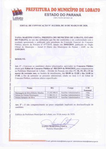 EDITAL DE CONVOCAÇÃO 012/2020