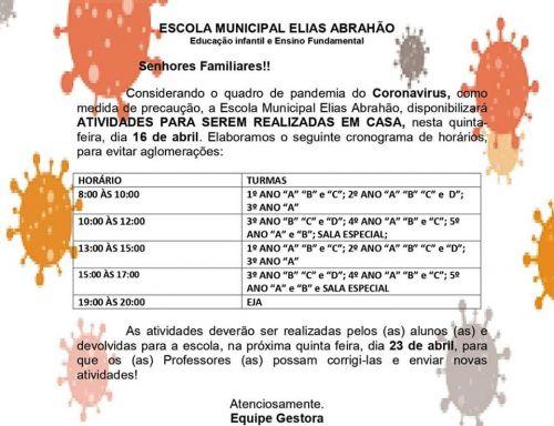 ATENÇÃO LOBATO! COMUNICADO ESCOLA MUNICIPAL ELIAS ABRAHÃO.
