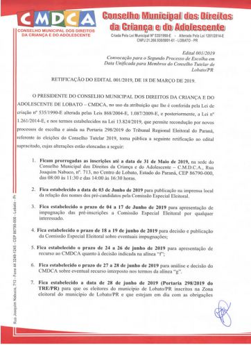 REABERTAS AS INSCRIÇÕES PARA CANDIDATOS AO CONSELHO TUTELAR DE LOBATO
