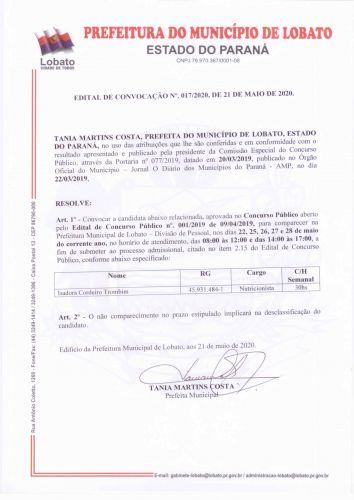 EDITAL DE CONVOCAÇÃO N 017/2020
