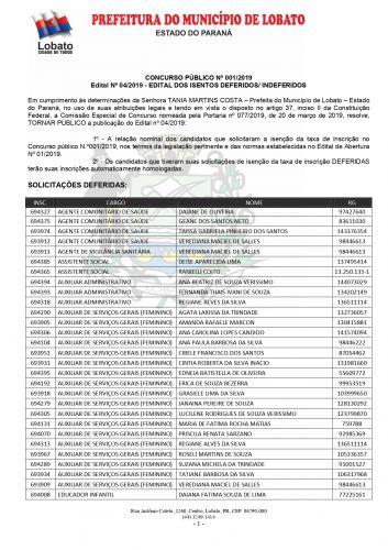 EDITAL DOS ISENTOS DEFERIDOS/ INDEFERIDOS CONCURSO 2019