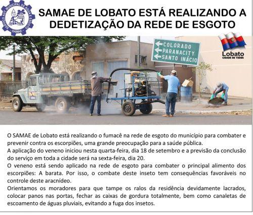 O SAMAE DE LOBATO ESTA REALIZANDO A DEDETIZAÇÃO DA REDE DE ESGOTO