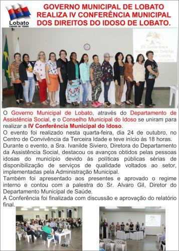 GOVERNO MUNICIPAL DE LOBATO REALIZA IV CONFERÊNCIA MUNICIPAL DOS DIREITOS DO IDOSO DE LOBATO