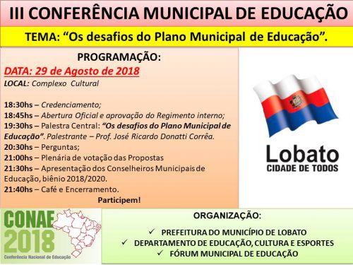 CONFERÊNCIA MUNICIPAL DE EDUCAÇÃO - LOBATO/PR