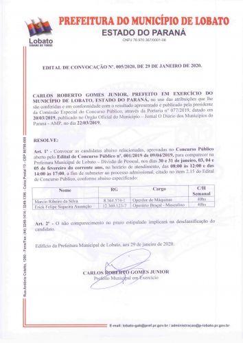 EDITAL DE CONVOCAÇÃO N 005-2020