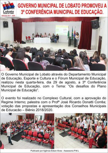GOVERNO MUNICIPAL DE LOBATO PROMOVEU A 3ª CONFERÊNCIA MUNICIPAL DE EDUCAÇÃO