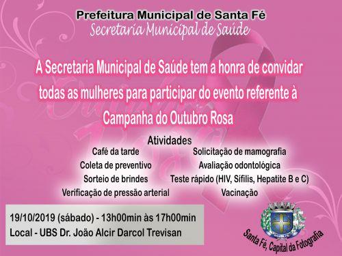 Venha participar conosco deste evento do Outubro Rosa