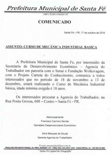 VEM AÍ CURSO DE MECÂNICA INDUSTRIAL BÁSICA DE 18 DE NOVEMBRO A 13 DE DEZEMBRO