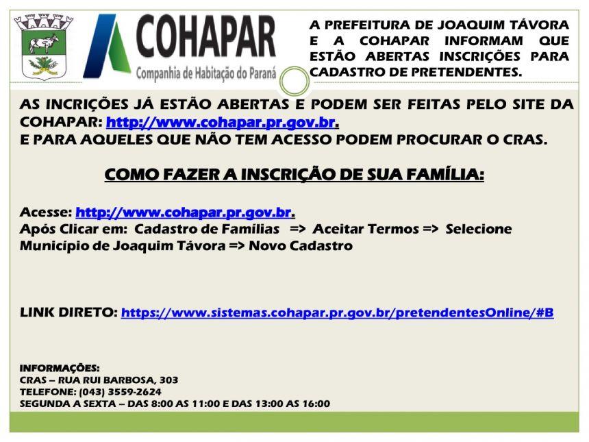 ABERTAS INSCRIÇÕES PARA CADASTRO DE PRETENDENTES A CASAS POPULARES EM JOAQUIM TÁVORA