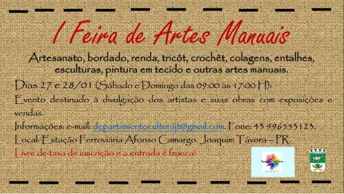 CULTURA PROMOVE FEIRA DE ARTES MANUAIS EM JOAQUIM TÁVORA