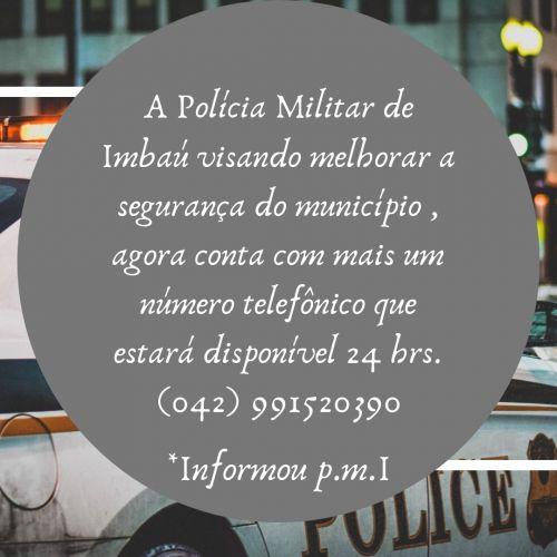 A P.M de Imbaú disponibiliza novo número telefônico.