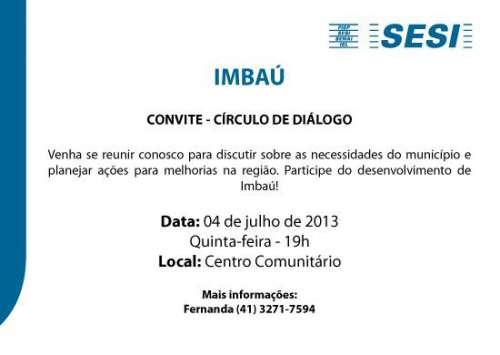 Prefeitura Municipal e SESI promovem o CÍRCULO DE DIÁLOGO em Imbaú dia 04 de julho