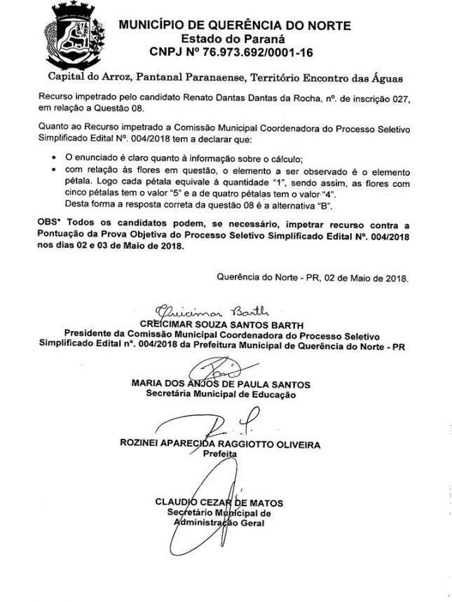 TORNA PÚBLICA A PONTUAÇÃO DA PROVA OBJETIVA DO PROCESSO SELETIVO SIMPLIFICADO PARA PROFESSOR EDITAL N° 004-2018