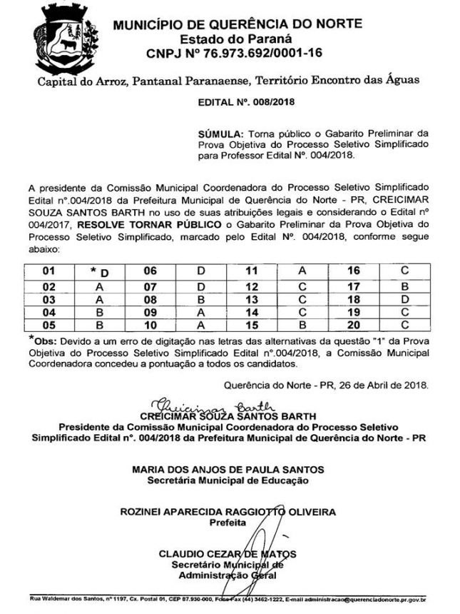 TORNA PÚBLICO O GABARITO PRELIMINAR DA PROVA OBJETIVA DO PROCESSO SELETIVO SIMPLIFICADO PARA PROFESSOR EDITAL N° 004/2018