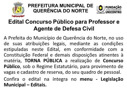 ABERTURA DE CONCURSO PÚBLICO PARA PROFESSOR E AGENTE DE DEFESA CIVIL