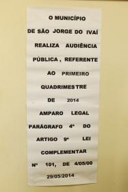 Audiência Pública, Referente ao Primeiro Quadrimestre de 2014.