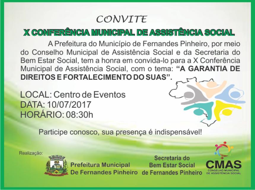X Conferência Municipal de Assistência Social