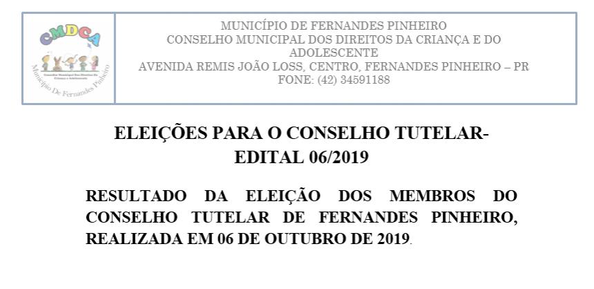 EDITAL 09/2019- RESULTADO FINAL DA ELEIÇÃO PARA O CONSELHO TUTELAR