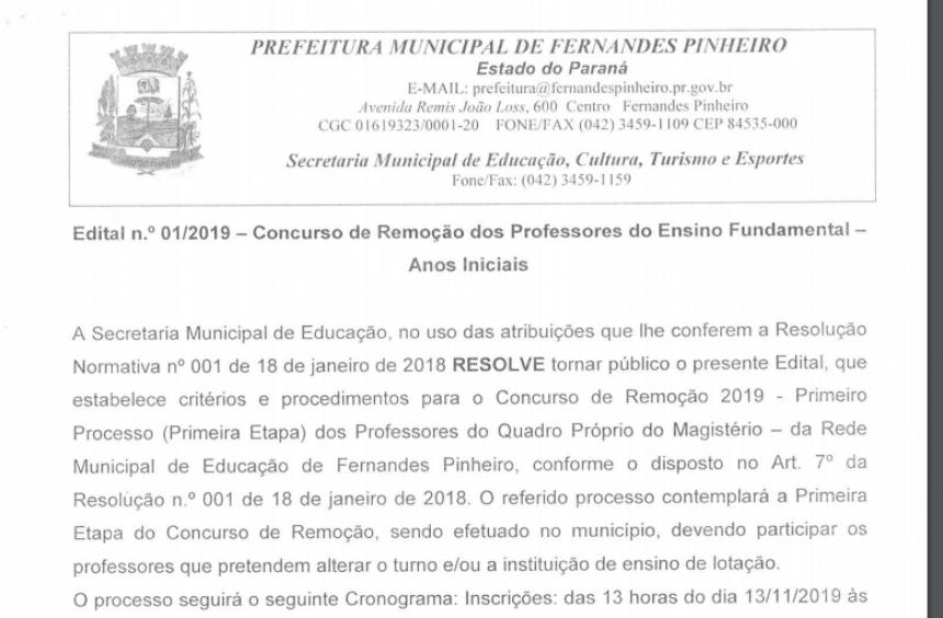RESULTADO FINAL- CONCURSO REMOÇÃO DOS PROFESSORES DO ENSINO FUNDAMENTAL- ANOS INICIAIS