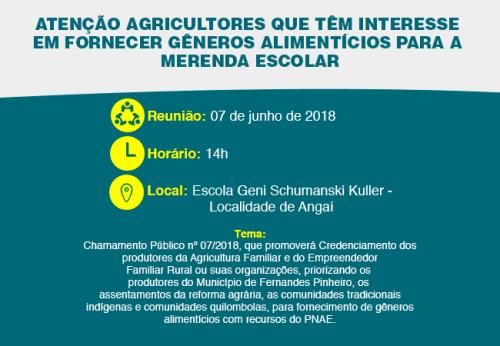 Atenção Agricultores que possuem interesse em fornecer gêneros alimentícios para a merenda escolar