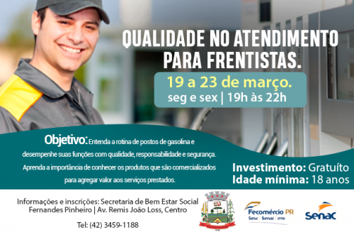 05 de Março: Prefeitura oferece curso Gratuito: Qualidade no atendimento para Frentistas