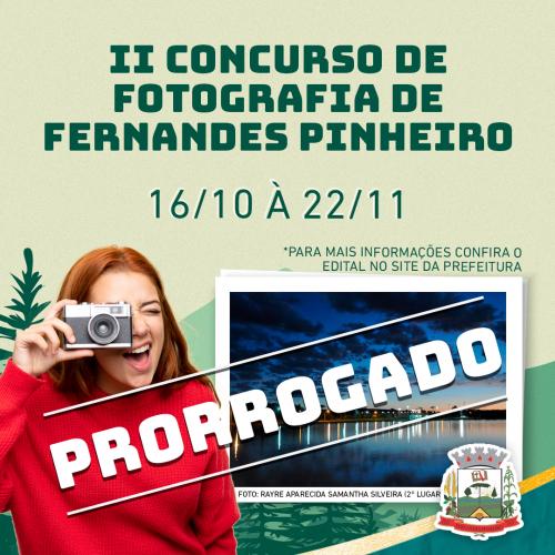 PRORROGADO O II CONCURSO DE FOTOGRAFIA DO MUNICÍPIO DE FERNANDES PINHEIRO - 2019
