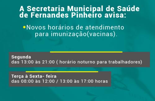 NOVOS HORÁRIOS DE ATENDIMENTO PARA VACINAS