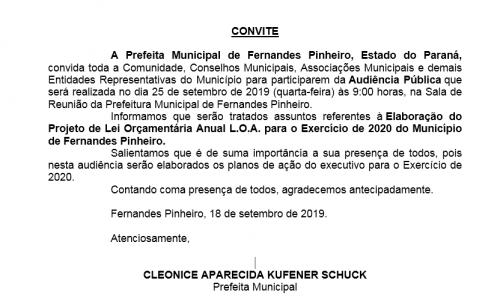 Elaboração do Projeto de Lei Orçamentária Anual L.O.A. para o Exercício de 2020 do Município de Fernandes Pinheiro.