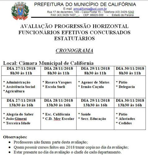 AVALIAÇÃO PROGRESSÃO HORIZONTAL FUNCIONÁRIOS EFETIVOS CONCURSADOS ESTATUTÁRIOS