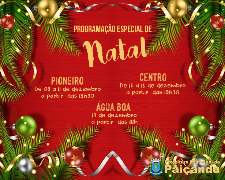 Confira as datas de chegada do Papai Noel em Paiçandu