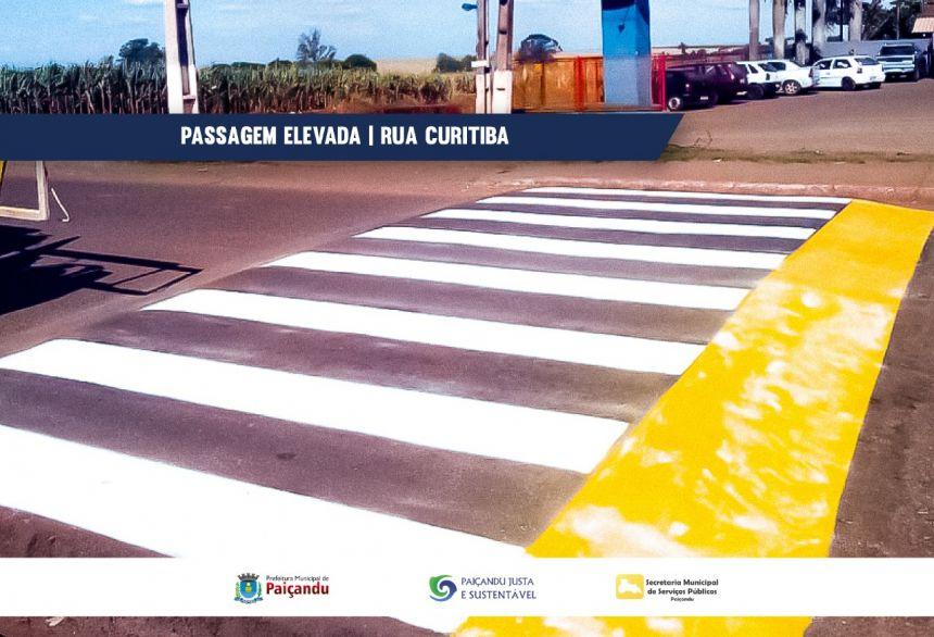 Secretaria de serviços públicos realiza implantação de passagem elevada e sinalização