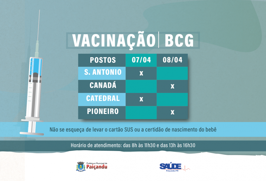 Cronograma de Vacinação BCG