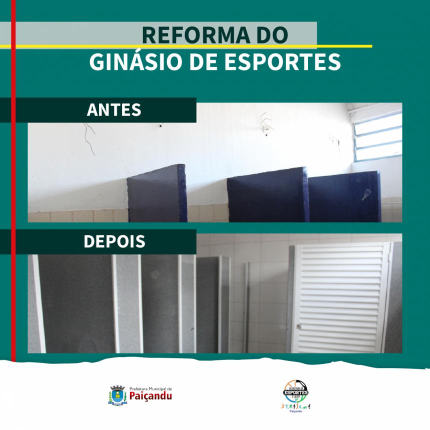 Antes e depois da reforma do Ginásio de Esportes