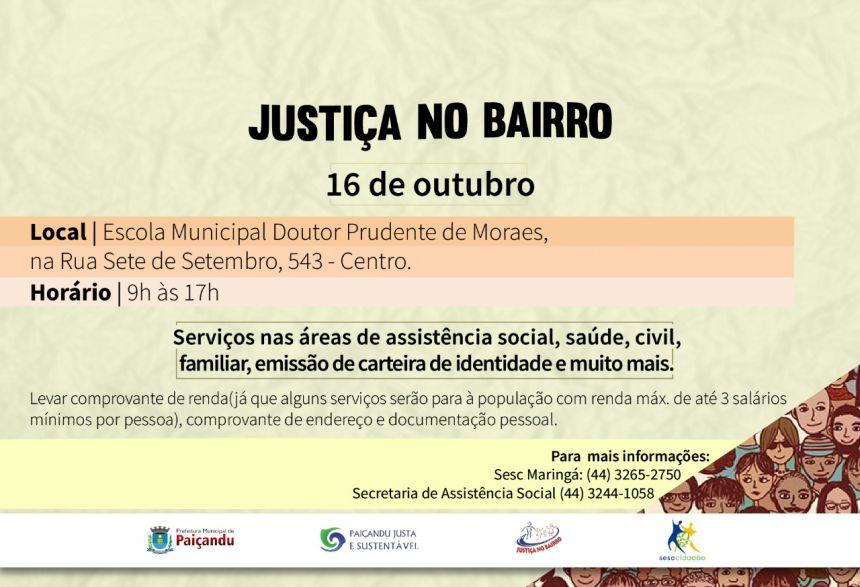 Justiça no Bairro Sesc Cidadão será realizado em Paiçandu