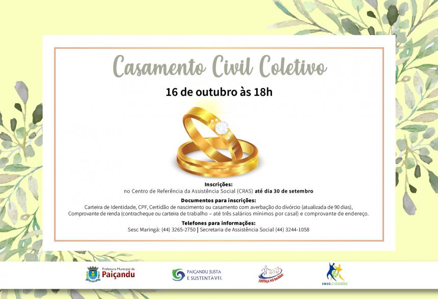 Inscrições abertas para o Casamento Civil Coletivo em Paiçandu