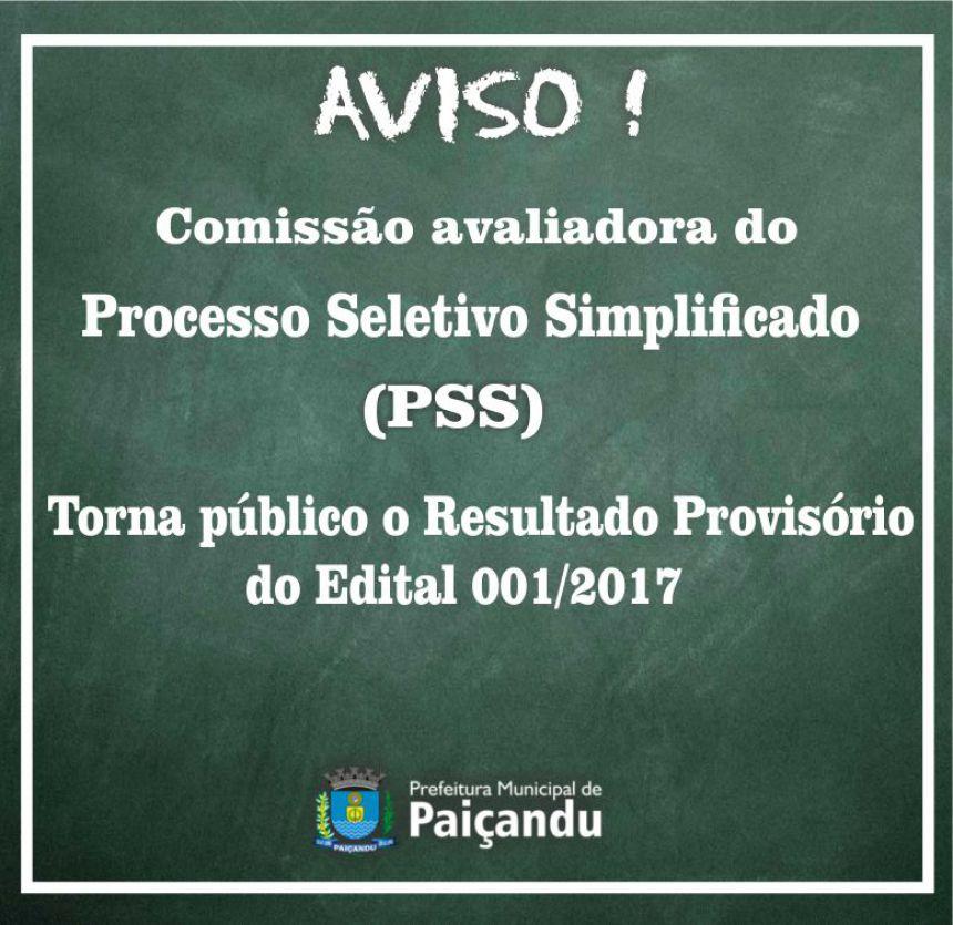 Edital Provisório Do Processo Seletivo Simplificado (PSS)