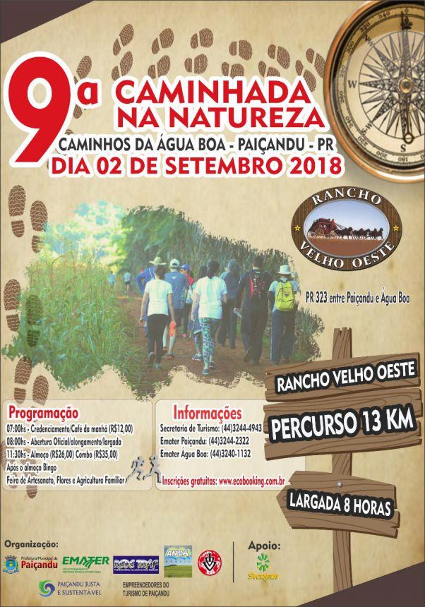 Secretaria de Turismo do Município de Paiçandu irá promover a 9ª Caminhada na Natureza - Caminhos da Água Boa