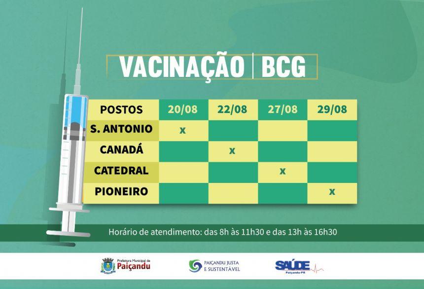 Cronograma da vacina BCG