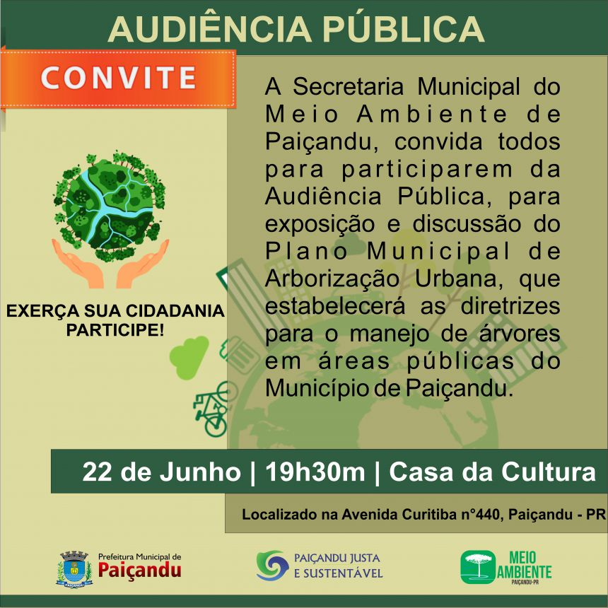Convite à Audiência Pública do Meio Ambiente