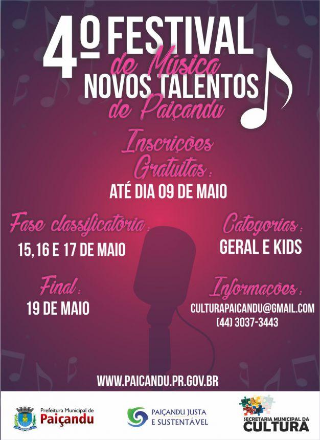 Secretaria de cultura apresenta o 4 Festival de Música - Novos talentos