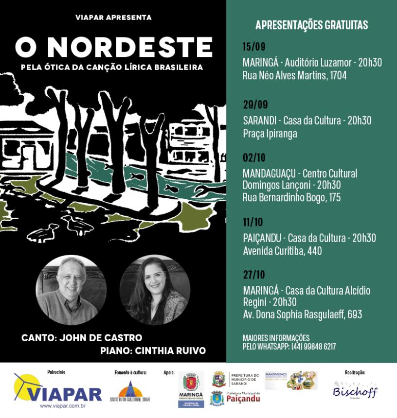 Duo de canto e piano realiza cinco apresentações e presta homenagem ao Nordeste