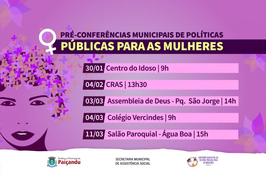 Convite | Pré-conferências municipais de políticas públicas para mulheres