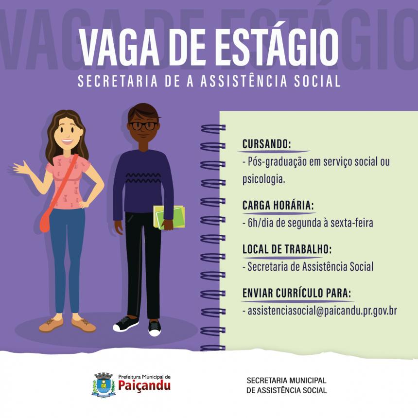 Vaga de estágio para pós-graduação na assistência social