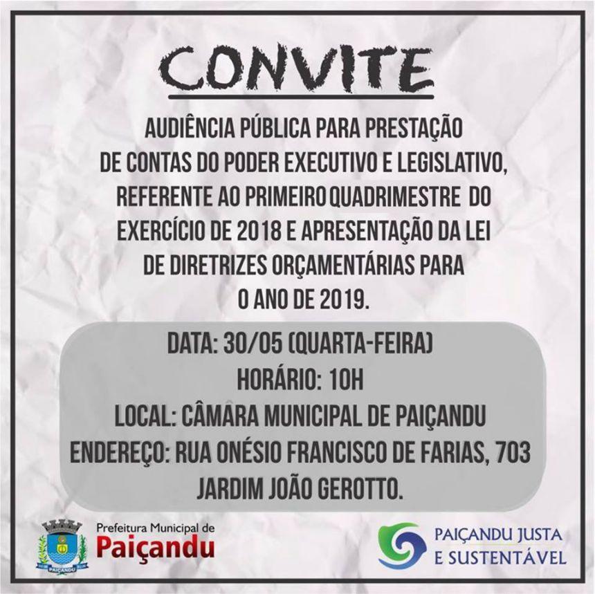 Convite: Audiência Pública para prestação de contas do poder executivo e legislativo