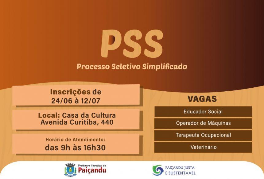 Prefeitura abre inscrições para PSS