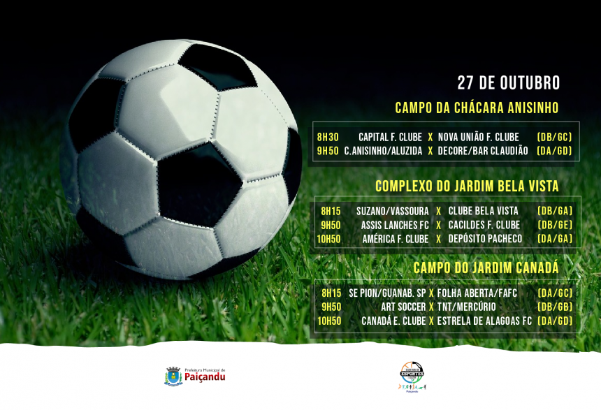 Cronograma | Terceira rodada da primeira fase do 28º Campeonato Municipal de Futebol Suíço de Paiçandu