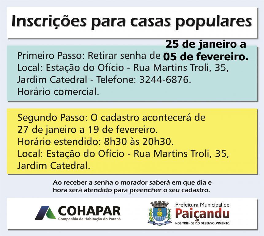 COHAPAR E Prefeitura estendem prazo de entrega de senhas para cadastro de Casas Populares