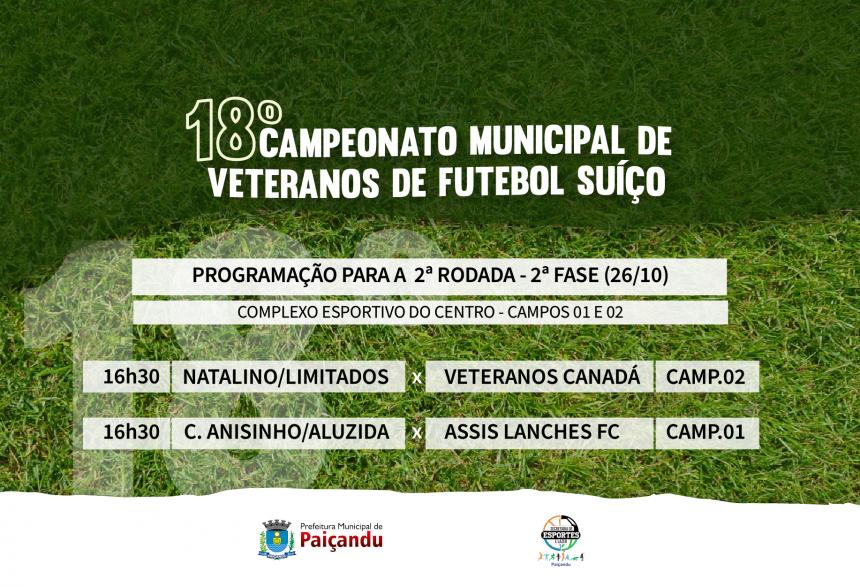 Programação   2ª rodada da 2ª fase do 18º Campeonato Municipal de Veteranos de Futebol Suíço de Paiçandu