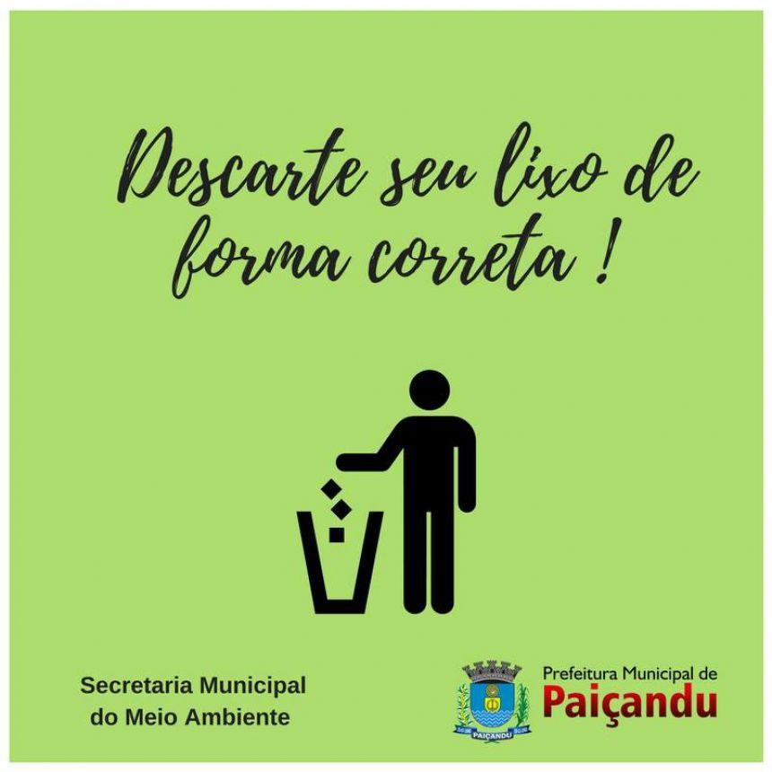 Secretaria de Meio Ambiente orienta sobre o descarte correto do lixo