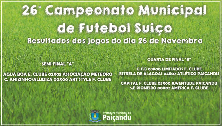 26º Campeonato Municipal de Futebol Suiço